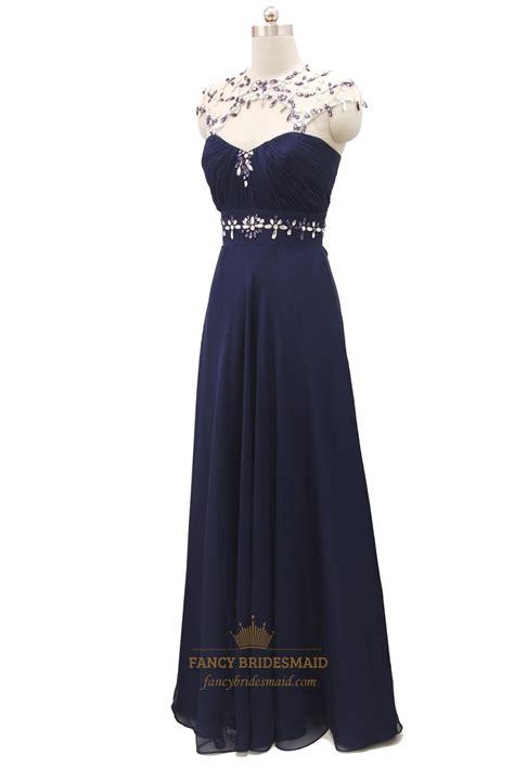 navy beaded evening dress navy blue beaded embellishment chiffon prom dresses