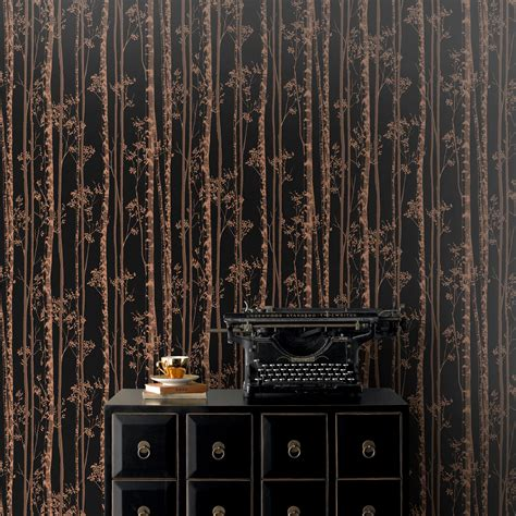 Teal And Brown Bedroom Ideas pure black amp copper linden metallic effect wallpaper