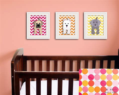 puppy nursery decor chevron nursery decor set of any 3 puppy prints