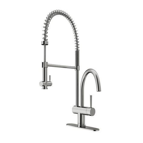 stainless steel kitchen faucet with pull spray vigo single handle pull sprayer kitchen faucet with deck plate in stainless steel