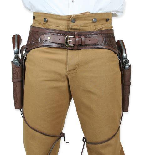 leather gun belt and holster 44 45 cal western gun belt and holster chocolate brown tooled leather