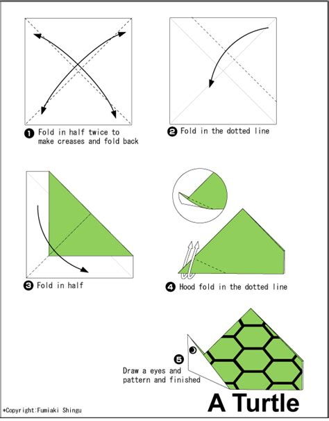 directions for origami turtle easy origami for