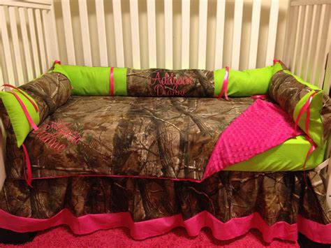 camouflage bedding for cribs camo realtree with lime pink baby crib bedding set with
