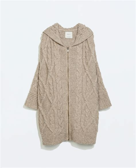 cable knit hooded cardigan zara hooded cable knit zip cardigan in beige mink lyst
