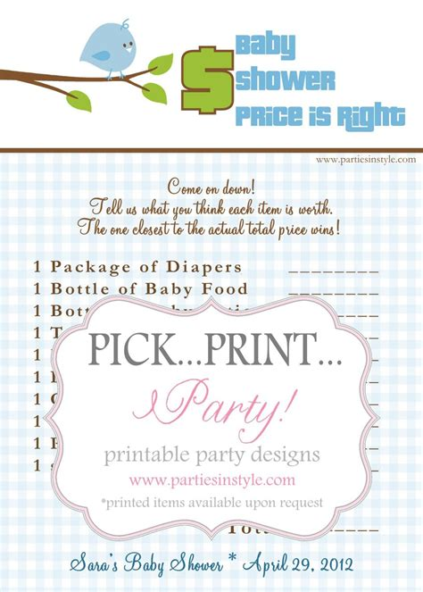 baby shower game price is right printable diy the