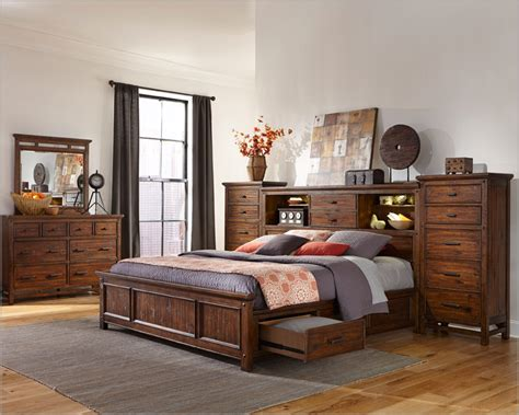 bedroom set with storage intercon storage bedroom set wolf creek inwk br 6190set