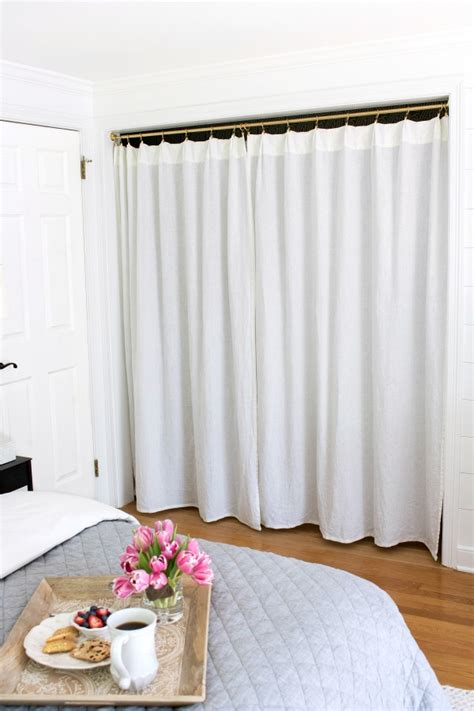 closet door curtains replacing bi fold closet doors with curtains our closet