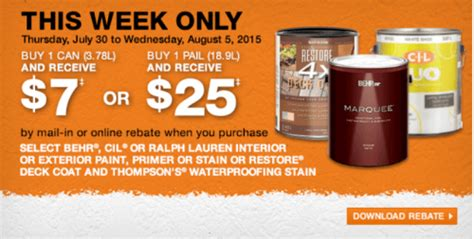 home depot paint rebate 2015 the home depot canada rebate offer buy 1 can and get 7