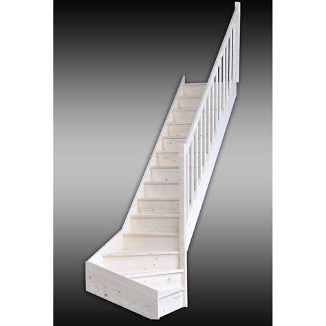 escalier quart tournant deva marches structure bois massif sapin brut leroy merlin