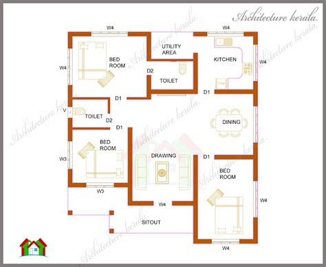 house plans in kerala with 4 bedrooms three bedrooms in 1200 square kerala house plan