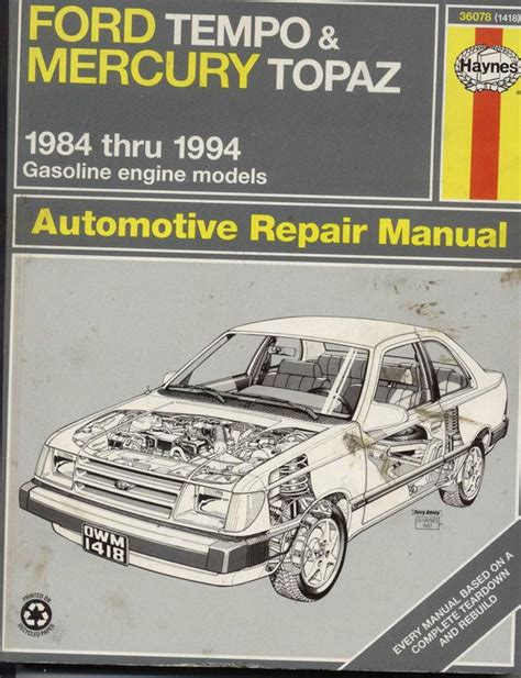 purchase haynes manual 1418 ford tempo mercury topaz purchase haynes 1984 1997 ford tempo mercury topaz automotive repair manual motorcycle in
