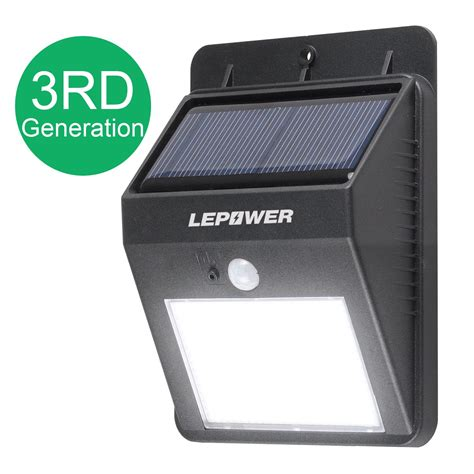solar power outdoor light lepower bright led wireless solar powered motion sensor