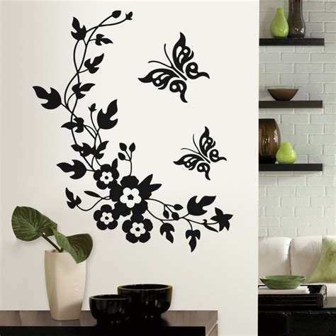 aliexpress buy removable vinyl 3d wall sticker mural decal flowers and vine butterfly