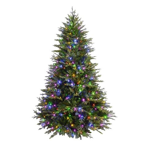 prelit tree led 7 5 ft evergreen set artificial tree with