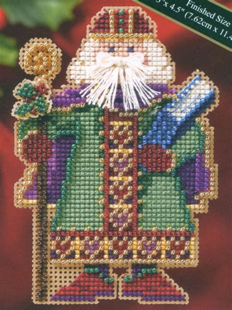 beaded cross stitch saxony santa beaded cross stitch kit mill hill 2006