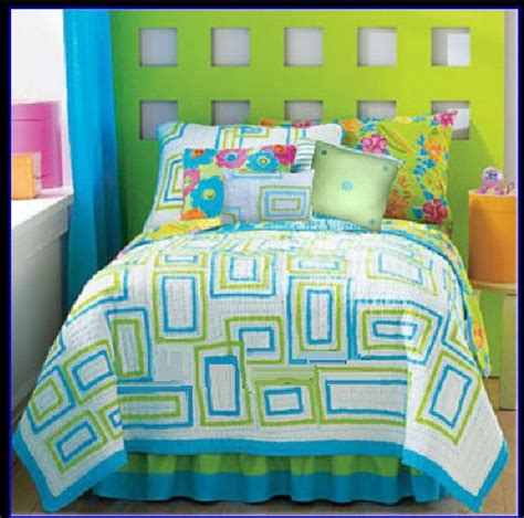 paint color for quilt room image detail for lime green and turquoise blue bedding