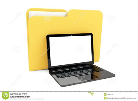 with computer laptop computer with folder stock photos image 34821393