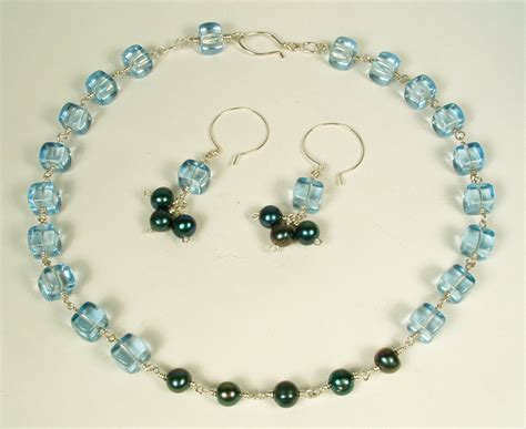 Finishing Projects Blue Cube And Pearl Necklace And
