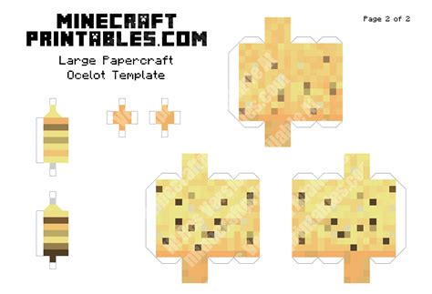 minecraft printable paper crafts ocelot printable minecraft ocelot papercraft template
