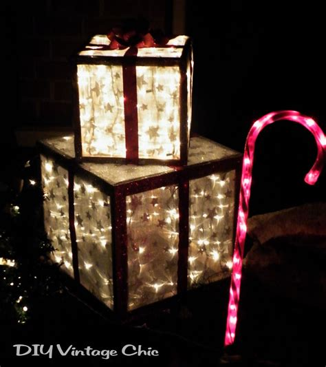 outdoor present decorations diy vintage chic how to make lighted presents