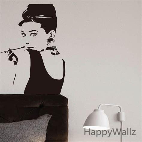 hepburn wall sticker modern wall sticker andrey hepburn wall decal diy