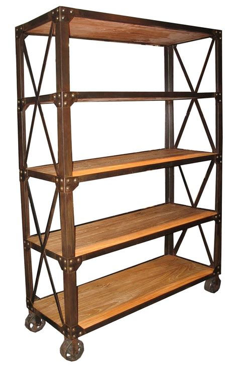 wood and metal shelves 78 quot bookcase elm wood 5 shelves metal on