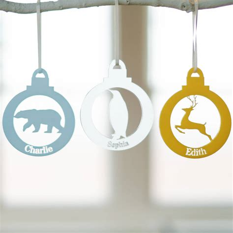 names on baubles animal personalised name bauble by clouds and currents