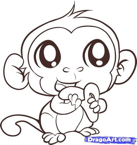 animals easy monkey drawing monkey step by step forest