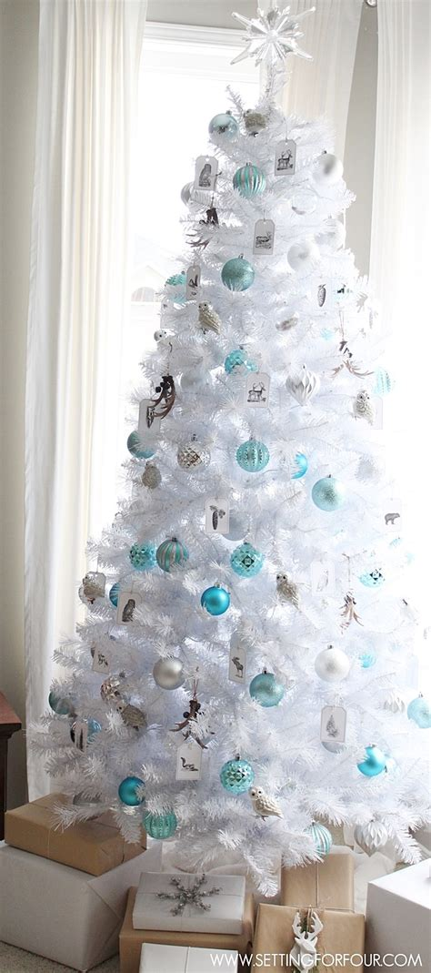 ideas for decorating white trees winter woodland glam white tree setting for four