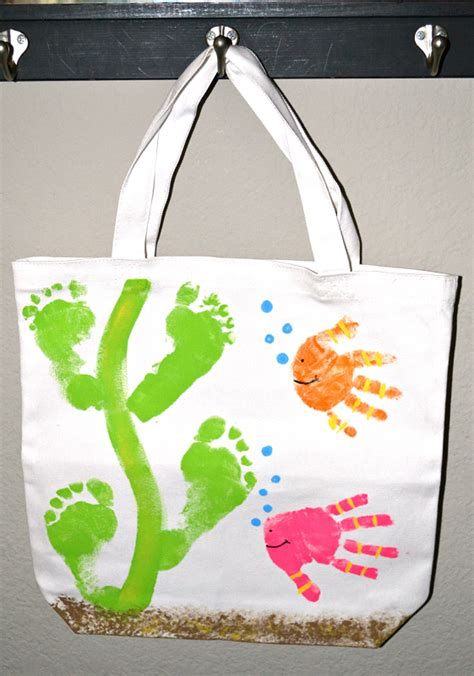 bag crafts handprint fish footprint seaweed tote bag crafty morning