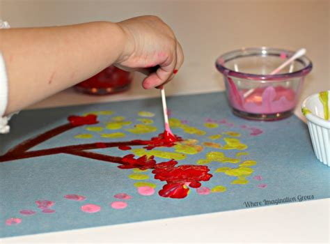 painting craft for simple projects for cotton swab tree craft