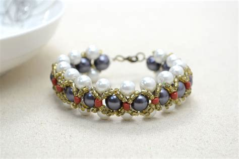 how to make a seed bead bracelet woven pearl bracelet with seed pictures photos and