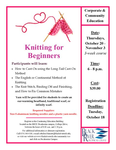 knitting for beginners brtc knitting for beginners randolph county chamber of