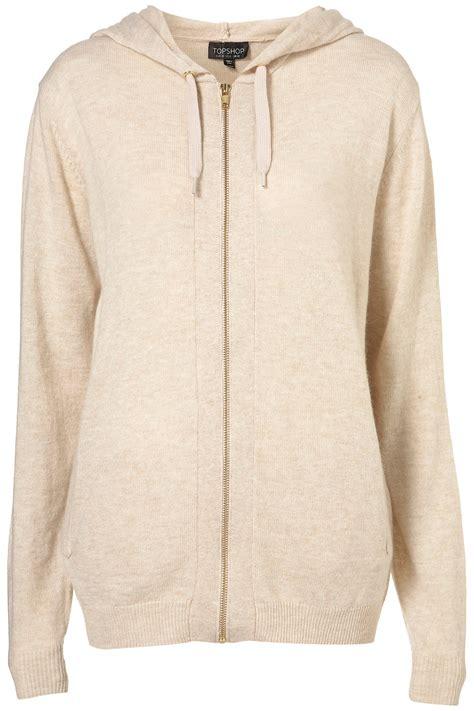 knitted hoodie topshop knitted zip up hoody in lyst