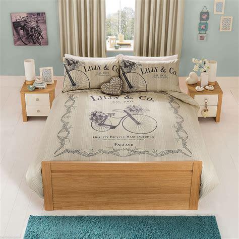vintage bedding sets uk vintage shabby chic bicycle single duvet cover set bedding