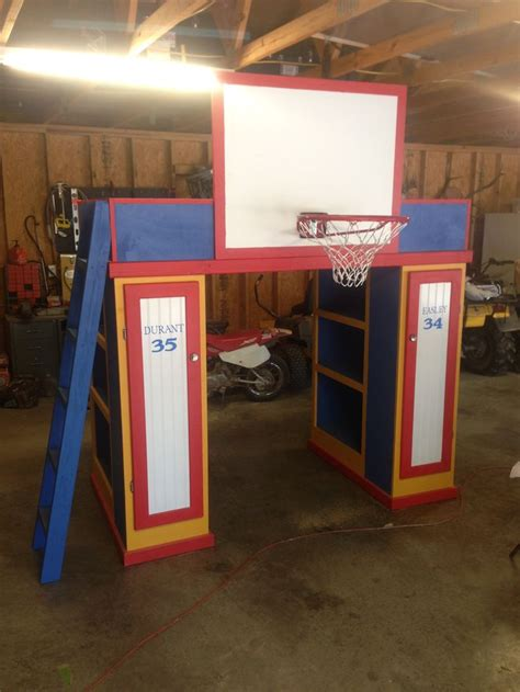 basketball themed bunk beds loft bed with 2 bookcases 2 lockers ladder and basketball
