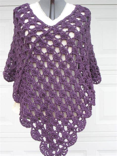 poncho pattern plus size crochet poncho shell stitch in plum