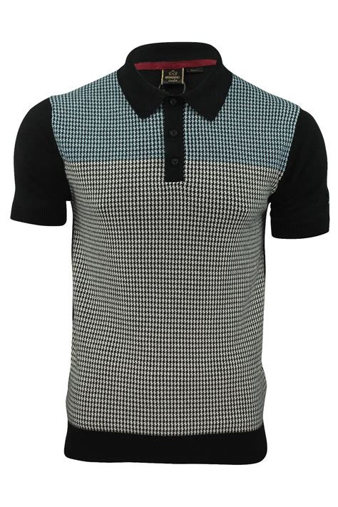 knitted shirt mens knit polo shirt by merc parish tooth check ebay