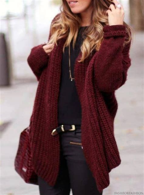 how to wear a knitted cardigan jacket burgundy pull pullover knitwear boho