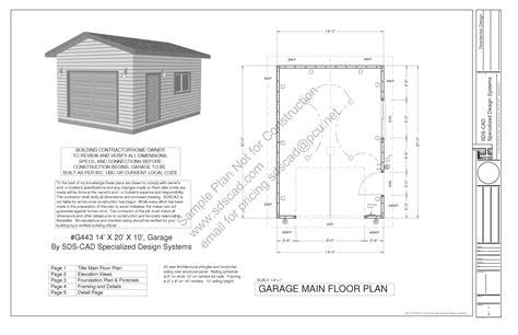 plans for building a garage g443 14 x 20 x 10 garage plans blueprints downloadable