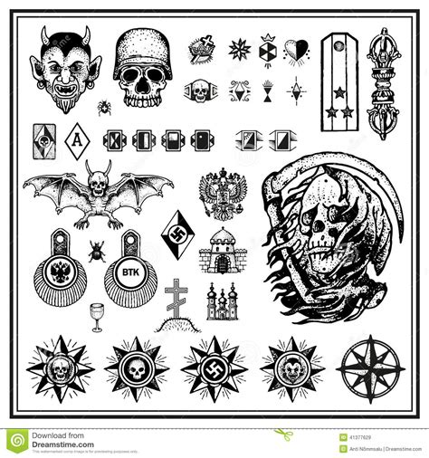 russian criminal finger tattoos stock vector image 41377629