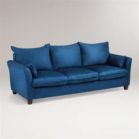 microsuede sofa slipcover midnight blue microsuede luxe 3 seat sofa slipcover