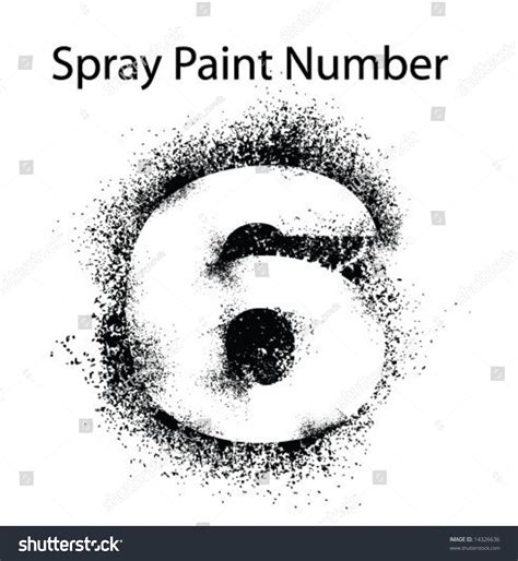 spray paint font numbers detailed spray paint number 6 stock vector 14326636
