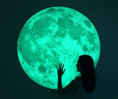 Wall Stickers Glow In The Dark massive glow in the dark full moon wall sticker the