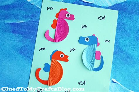 seahorse crafts for cupcake liner seahorse kid craft glued to my crafts