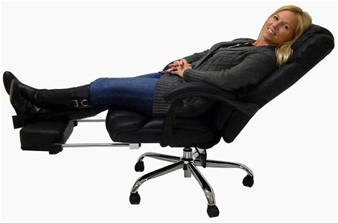reclining office desk chair leather reclining office chair w footrest