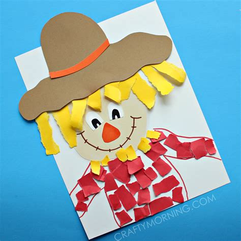 paper crafts for teenagers torn paper scarecrow craft crafty morning