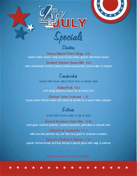 july 4th celebration specials menu 4th of july menus