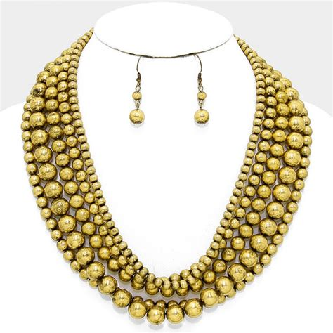 gold bead necklace festive metallic gold balls beaded multi strand statement
