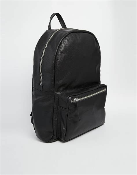 black leather backpacks american apparel leather backpack in black in black lyst